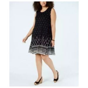 New Style & Co black printed swing dress 1X